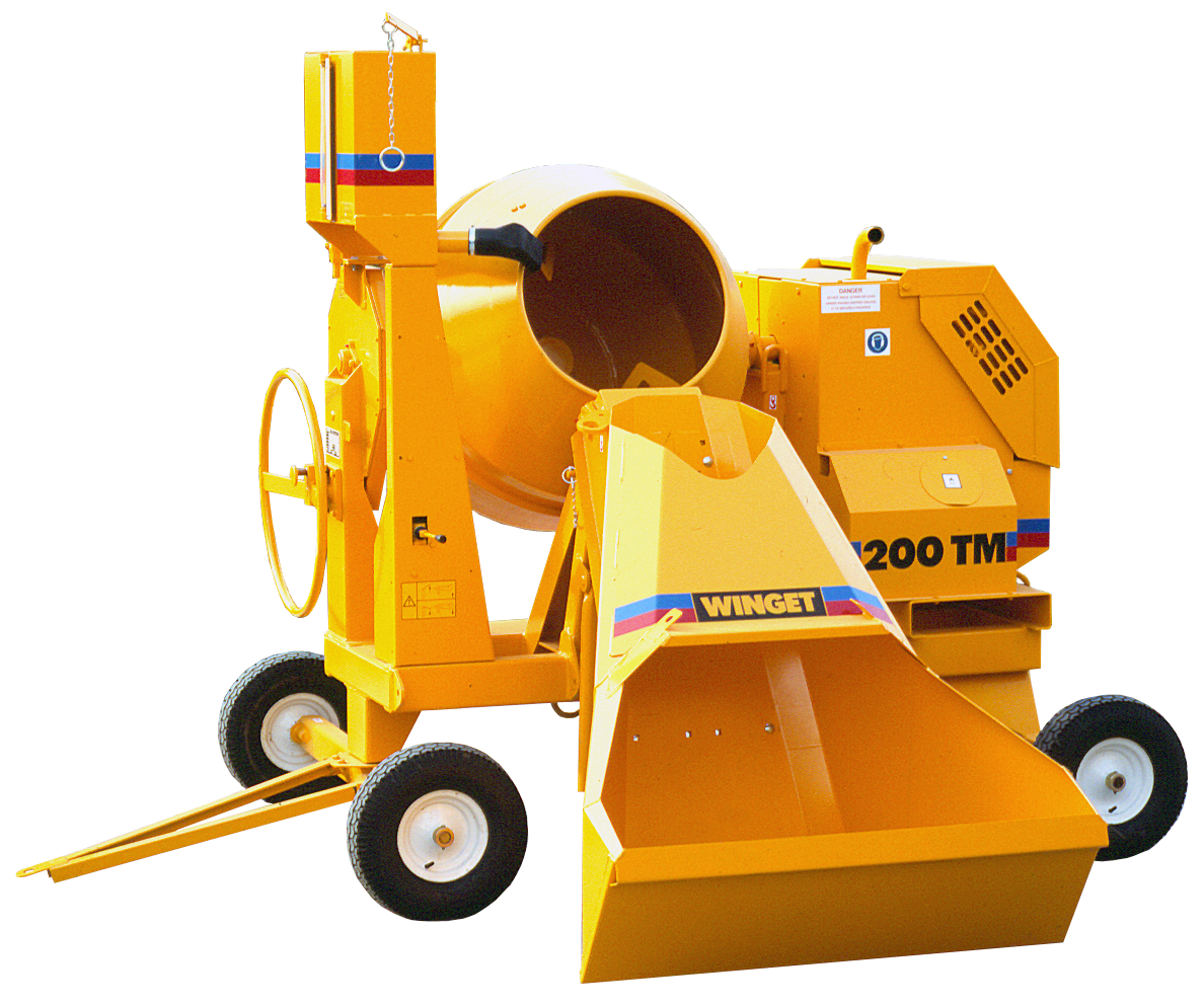 MECHANICALLY FED MIXERS - HOPPER FED TILTING DRUM