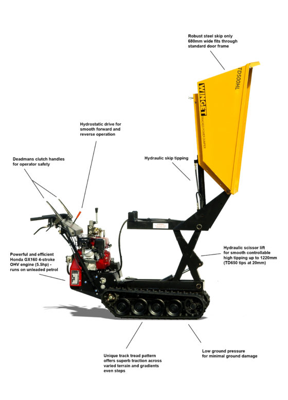 WINGET TD500HL HIGH LIFT TRACKED DUMPER FEATURES