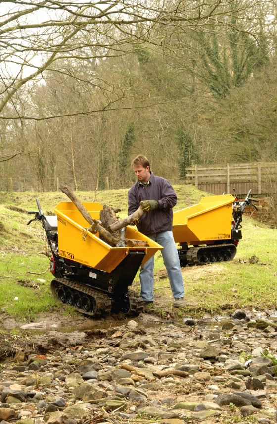 Man filling trucked dumper with parts of tree